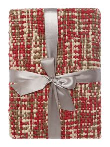 Check woven throw, red and cream