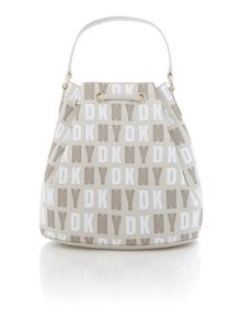 Coated logo neutral bucket bag