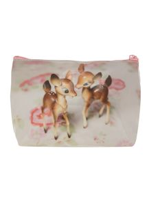 White medium deer cosmetic bag