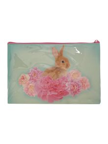 Green large bunny cosmetic bag