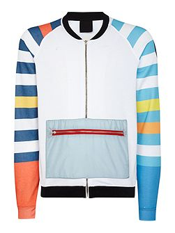 Striped Sleeve Graphic Half-Zip Jumper