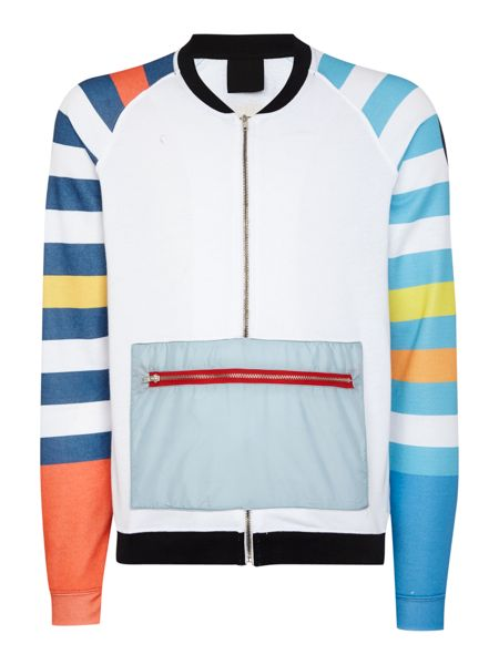 Blomor Striped Sleeve Graphic Half-Zip Jumper