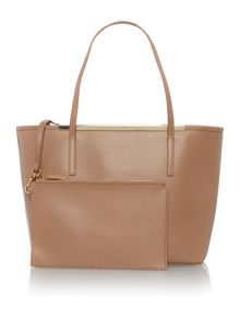Isbellz taupe top zip large tote bag with pouch