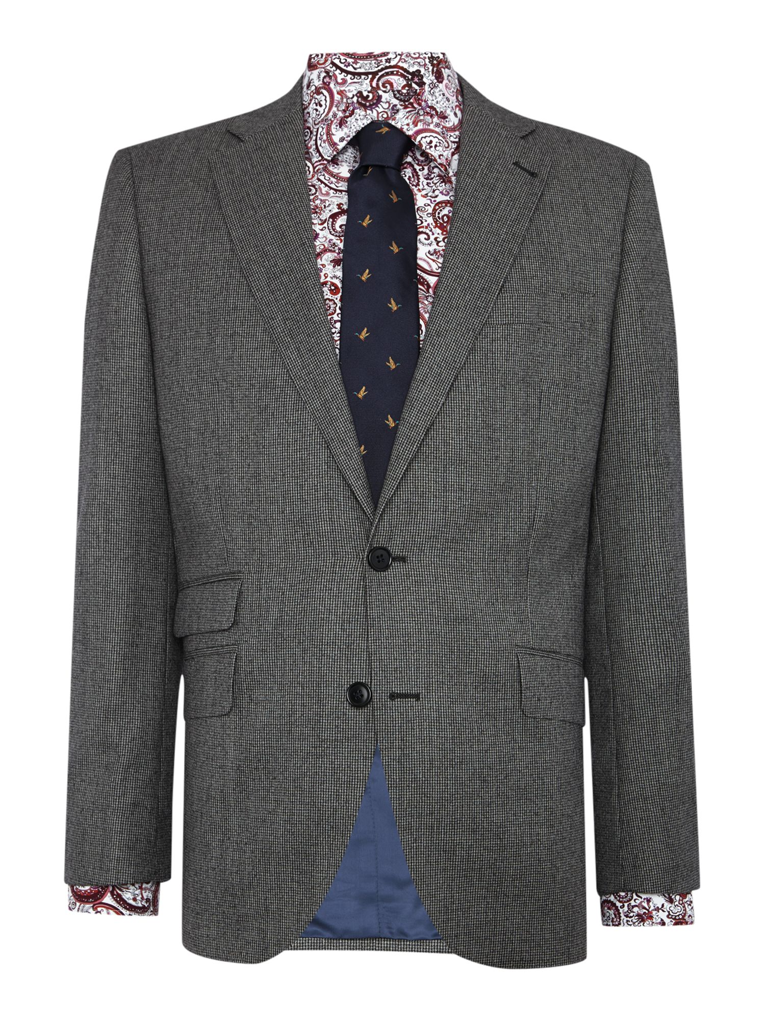 New & Lingwood Men's New & Lingwood Hollow Sb2 Dogtooth Suit Jacket, Grey