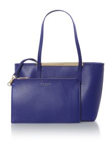 Haileyz blue top zip small tote bag with pouch