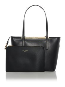 Haileyz black top zip small tote bag with pouch