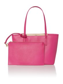 Haileyz pink top zip small tote bag with pouch