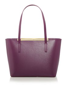 Phoebie purple large zip top tote bag with pouch