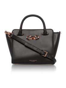 Hollie black loop bow tote bag