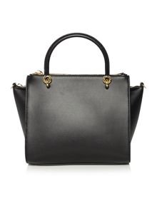 Haylie black pony zip top tote bag