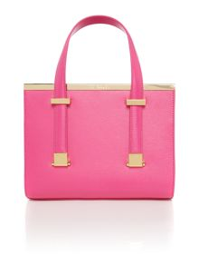 Cristie bright pink metal bar tote bag