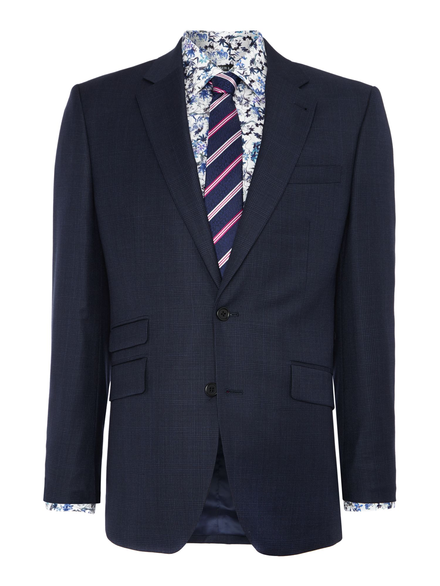 Men's New & Lingwood Pemberley Check Tailored Fit Suit Jacket, Navy
