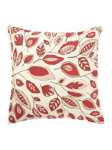 Leaf design red cotton cushion