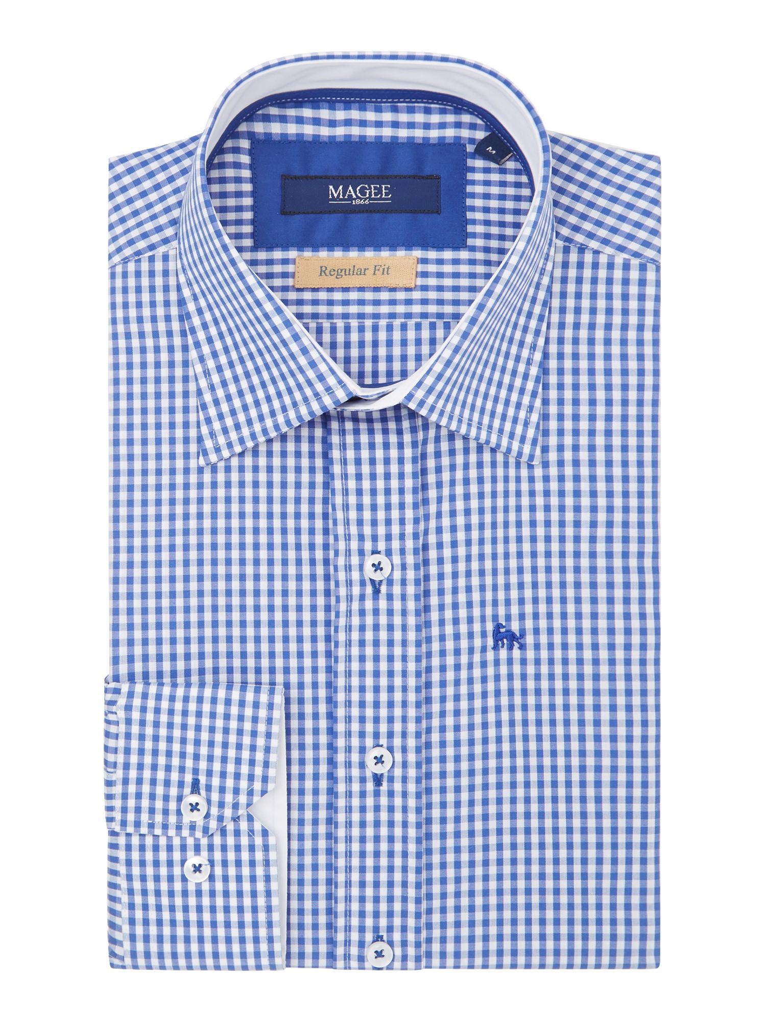Magee Men's Magee Check Classic Fit Long Sleeve Shirt, Blue