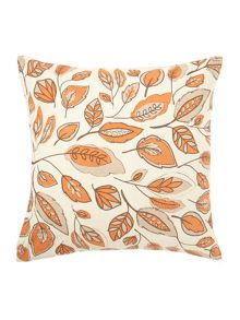Linea Leaf design orange cotton cushion