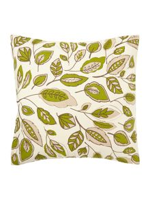 Linea Leaf design green cotton cushion