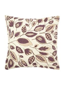 Linea Leaf design purple cotton cushion