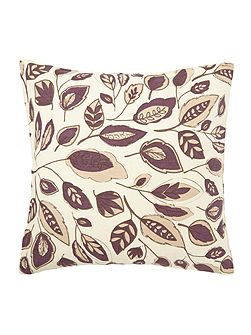 Leaf design purple cotton cushion