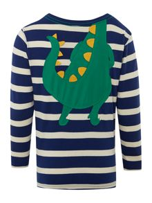 Boys dinosaur body striped tee