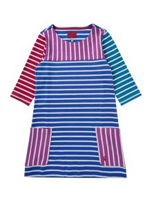 Joules Girls contrast stripe dress