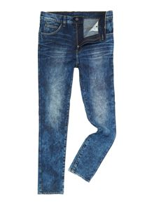 Tapered Skinny Medium Wash Dropped Crotch Jeans