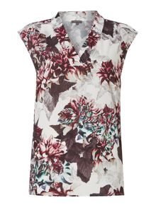 V Neck Printed Woven Top