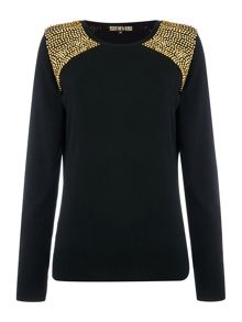 Embellished shoulder soft crew neck jumper