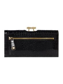 Jennie black large croc flap over purse