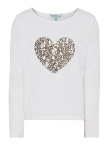 Girls sequin heart top