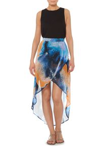 Art print wrap skirt