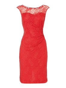 Sweetheart neck dress with lace overlay