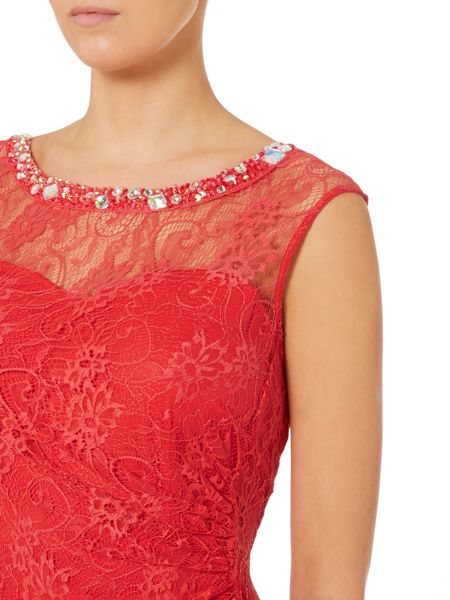 Shubette Sweetheart neck dress with lace overlay