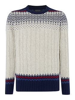 Men's Howick Swiss Cable Fairisle Crew Neck Jumper