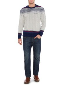 Howick Swiss Cable Fairisle Crew Neck Jumper