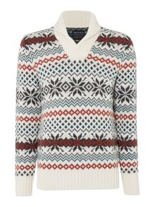 Howick Icelandic Shawl Neck Fairisle Jumper