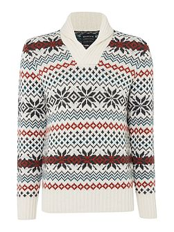 Men's Howick Icelandic Shawl Neck Fairisle Jumper