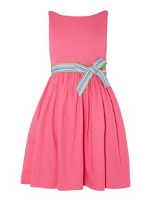 Girls Sleeveless Dress With Striped Ribbon