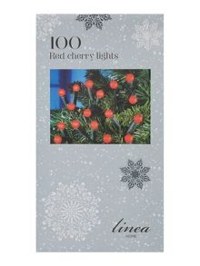 100 red cherry christmas fairy lights