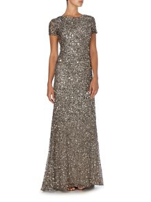 Cap sleeve all over sequin dress