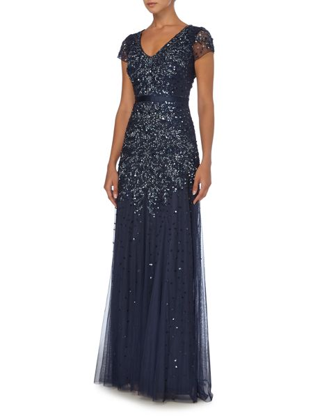 Adrianna Papell Jewel sequin dress with flutter sleeves