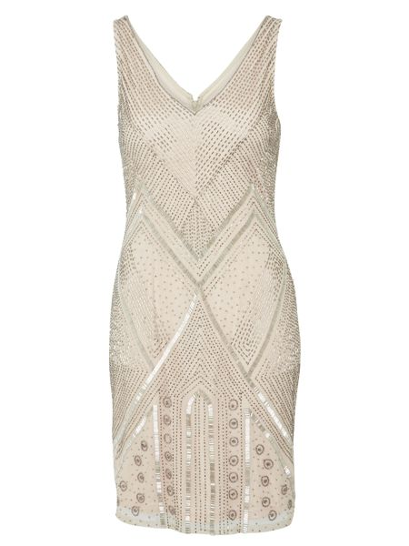 Adrianna Papell Sleeveless beaded flapper style dress ...