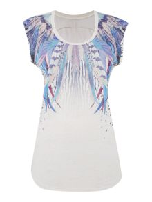 Label Lab Graphic Feather Print Tee
