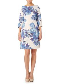 Adrianna Papell Long sleeve floral stretch dress
