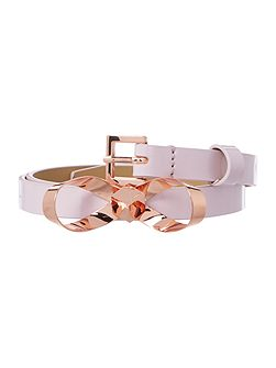 Bryano light pink bow skinny belt