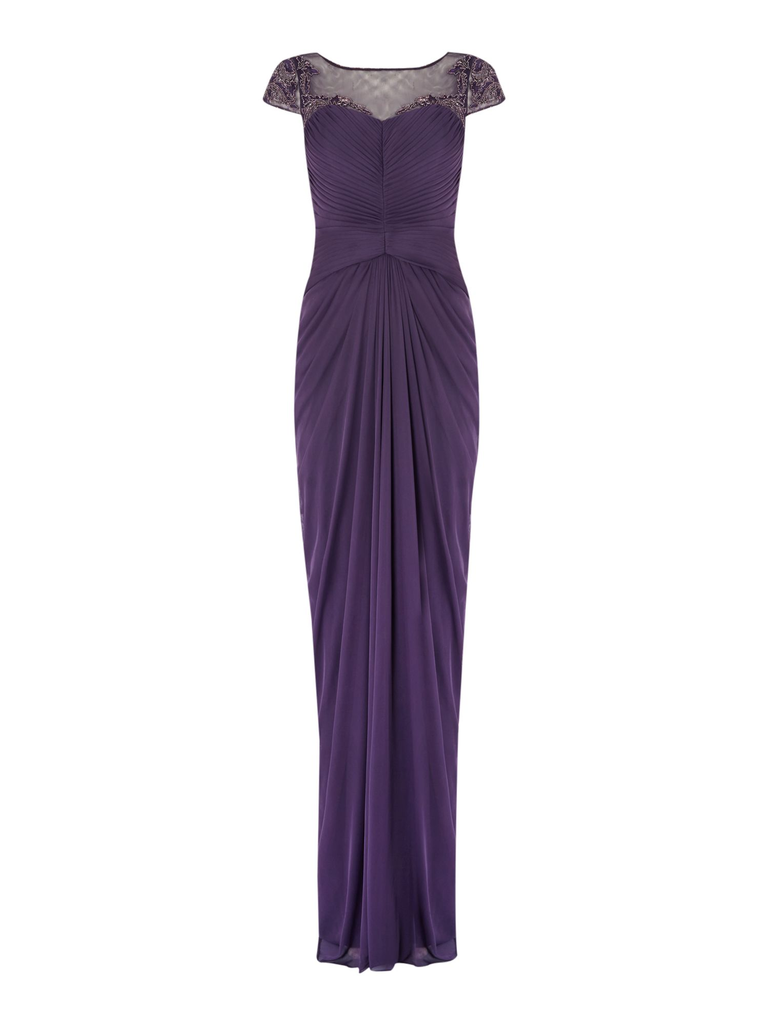 Adrianna Papell Drape front gown with sequin detailing $175.00 AT vintagedancer.com