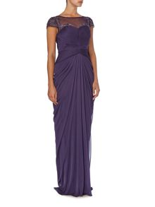 Drape front gown with sequin detailing