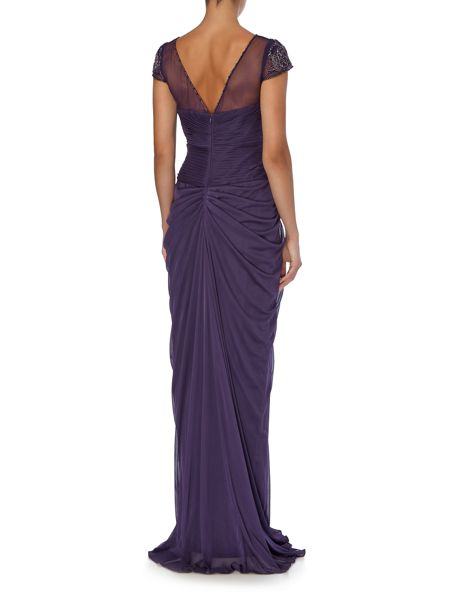 Adrianna Papell Drape front gown with sequin detailing