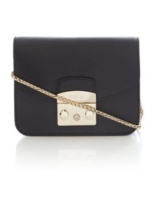 Metropolis black mini flap over cross body bag