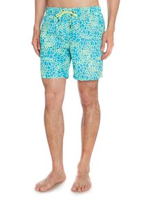 Drawstring Membrane Print Swimming Shorts