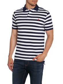 Stripe Custom Fit Mesh Polo Shirt